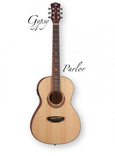 Luna Gypsy PAR - акустическая гитара, кельтский узор, встроенный тюнер, чехол.